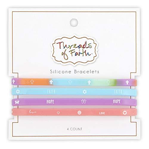 Creative Brands Threads of Faith Silicone Bracelet Set, Pastel Purple 4 Pack