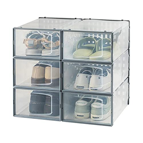 YUANB Caja de zapatos grande de plástico transparente de gama alta, caja de zapatos desmontable plegable caja de zapatos de almacenamiento a prueba de polvo