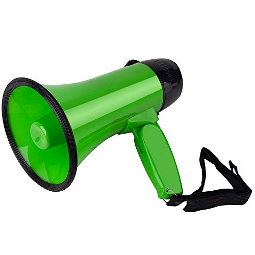MyMealivos Portable Megaphone Speaker Siren Record Bullhorn - Compact and Battery Operated with 20 Watt Power, Microphone, 3 Modes, PA Sound and Foldable Handle (Green)