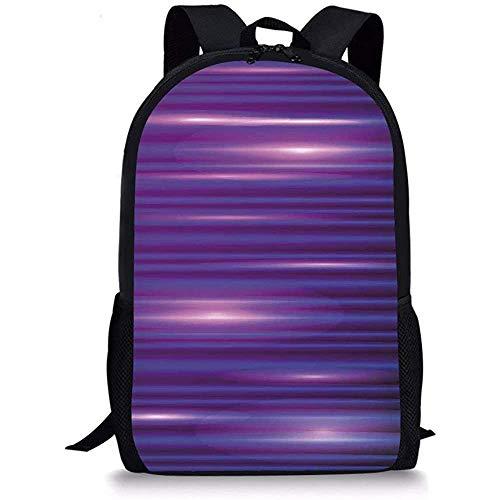 Hui-Shop Schultaschen Indigo, Streifen wie horizontale Linien Modern Minimalist 70er 80er Jahre Inspiriertes Design, Magenta Lila und Weiß