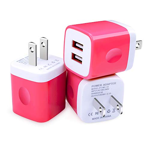 Wall Charger Block- USB AC Adapter Brick Travel Plug Box Cube Home and Cell Phone Use Compatible with iPhone X/8/8 Plus/7/6S/6 Plus/6/5S/5, Samsung Galaxy S7/S6/S5 Edge, LG, HTC, Huawei, Moto