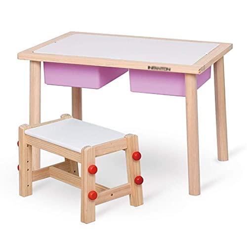 FACAZ Juego de Mesa y Silla de Madera Mesa de Estudio para niños Mesas y sillas de Juguete para niños La Mesa de Juegos de jardín de Infantes Puede soportar 200 kg de Peso (Color: Morado)