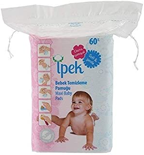 Ipek maxi baby pads large 100% cotton total 360 count in 6 packs squares cotton pad squares for baby care pads