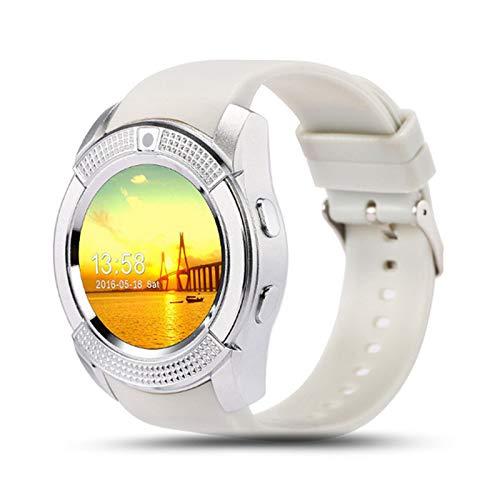 TOOGOO Reloj Inteligente Teleéfono Reloj para Mujer/Hombre para Android V8 Bluetooth Reloj Inteligente Impermeable Puede Insertar La Tarjeta Sim para Llamar Blanco