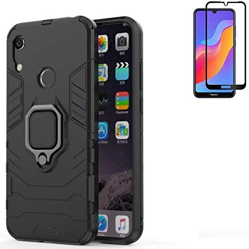 for Huawei Honor Play 8A / Honor 8A / Y6 2019 Case,Hybrid Heavy Duty Shockproof Armor Dual Layer Protection Defender Back Case Cover for Honor Play 8A / Y6 2019 Tempered Glass Screen Protector (Black)
