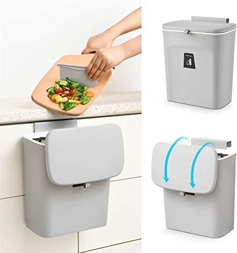 ABTSICA - Papelera colgante para encimera o debajo del fregadero, pequeño cubo de basura con tapa para armario, baño, dormitorio, oficina, camping, color blanco (gris)