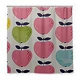 ZANSENG Duschvorhang, nahtloses Muster, Äpfel mit Haken, Polyester, dekorativer Badvorhang, modernes Badezimmer-Zubehör, 183 x 183 cm