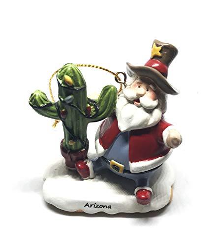 Sonoran Souvenirs Cactus Christmas Tree with Sheriff Hat Santa Resin Christmas Ornament (Arizona Namedrop)