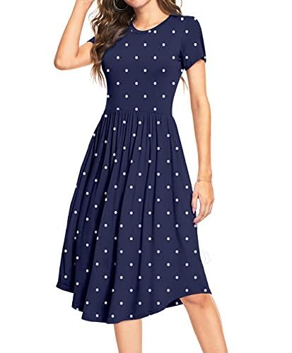 YUNDAI Women's Cotton Polka Dot Casual Pockets Loose Swing Midi Dress Medium, Navy