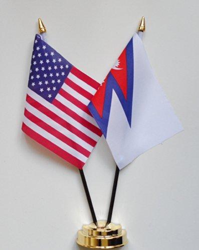 1000 Flags des États-Unis d'Amérique et Népal amitié Drapeau de Table écran 25 cm (25,4 cm)