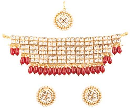 Touchstone New Contemporary Kundan Collection Indian Bollywood Desire Royal Mughal Square Shape Kundan Look Faux Red Onyx Drops Broad Bridal Jewelry Choker Set in Antique Gold Tone for Women