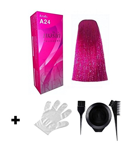 Berina Haarfarbe A24 magenta für Kurzhaar - inklusive Pinsel Kamm Färbebecher und Schutzhandschuh