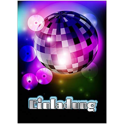 16 Einladungskarten zum Kindergeburtstag Motiv: Disko Tanzen Party - Einladungen für Kinder zum Geburtstag im Set