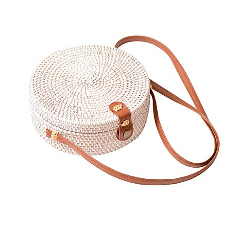 Why Should You Buy never say never Handwoven Round Rattan Bag Crossbody Bags Handmade Clutch Woven H...