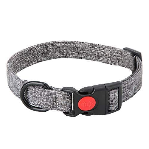 Atyhao Canvas Hunde Halsband, verstellbar Grau Modisches Haustier Halsband Weiche Hunde Nähen Leinwand Leinen Halsband für Hunde Katzen Welpen Kleine mittlere Hunde(M)