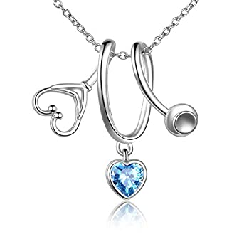 LUHE Stethoscope Pendant Necklace 925 Sterling Silver Heart Necklace Doctor Nurse Graduation Gift