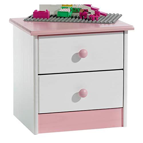 IDIMEX Nachtkommode Nachttisch Rondo, Kiefer massiv, weiß-rosa lackiert, 2 Schubladen