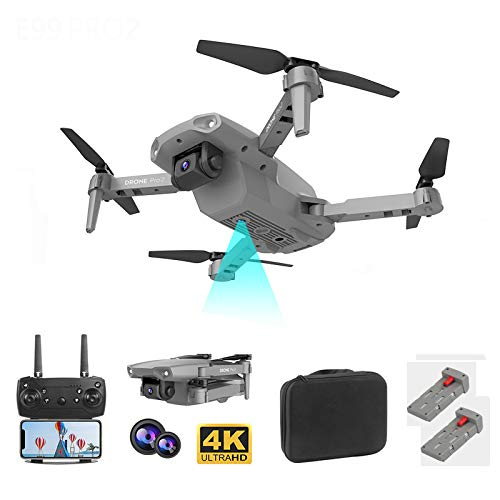 ZHENDUO Drone E99 Pro con fotocamera 4K HD pieghevole Drone WiFi FPV lunga durata di volo 4K 2 Kamara trasmissione in tempo reale per principianti adulti (grigio)