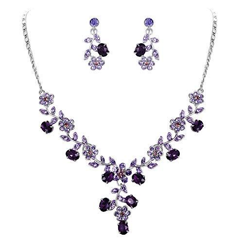 EVER FAITH Flower Leaf Necklace Earrings Set Austrian Crystal Silver-Tone - Purple