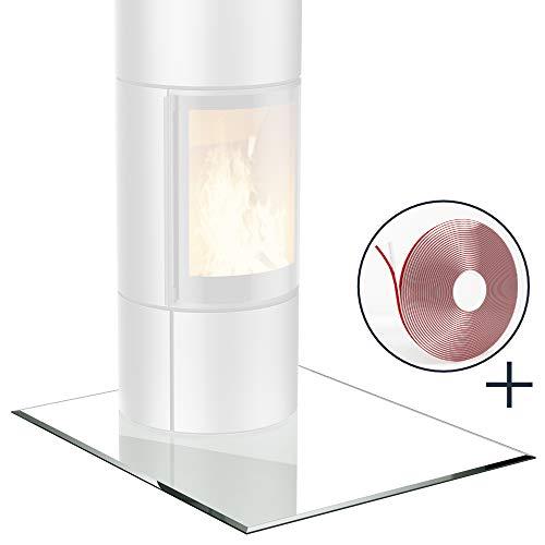 bijon® Glasplatte für Kaminofen Quadrat mit Dichtlippe Glasbodenplatte - Funkenschutzplatte Glas | Kamin Hitzeschutz | 110 x 110 cm – 8 mm ESG Kamin-Bodenplatte