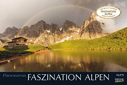 Faszination Alpen 2022: Großer Foto-Wandkalender mit Bildern von Gipfeln der Alpen. Edler schwarzer Hintergrund. PhotoArt Panorama Querformat: 58x39 cm.