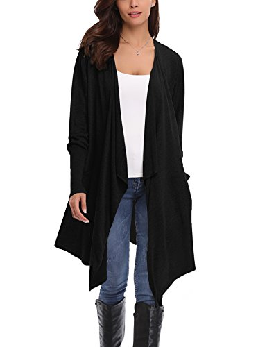 Gilet Long Femme Cardigan Asymetrique Laine Drapé Veste Longue Femme Manches Longues Ouvert avec Poches Tailleur Longue Outwear Gilet Irregulier Femme - 'Noir - L