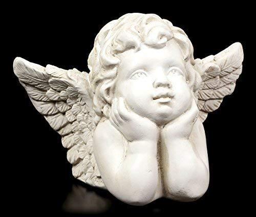 Engel Figur - Cherub nachdenklich | Weiß Cherubim Putte Deko
