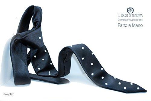 Krawatten Blau mit weißen Tupfen Poisplex Handgefertigt Made in Italy Made in Italy- handgemacht - Mädchen Geschenk Mädchen - Geschenke für ihn - Weihnachten