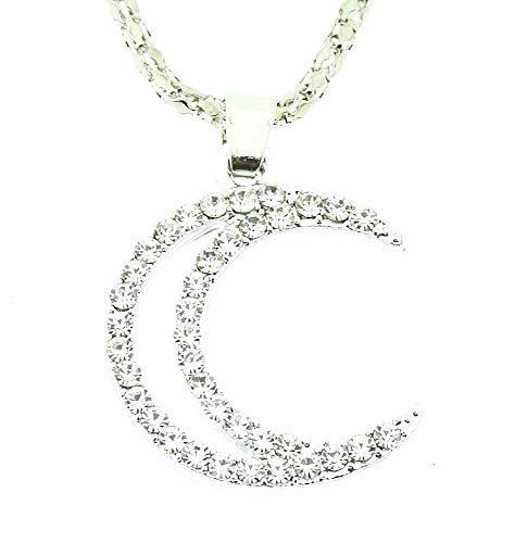 Vrouwelijke ketting - vrouw - kruidnagel - maan - zeis - hanger - lichtpunten - zilver - kerstmis - origineel cadeau-idee strass