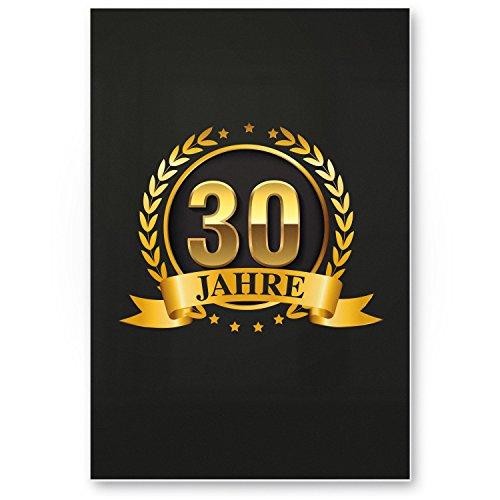 Bedankt! 30 jaar goud, plastic bord - cadeau 30e verjaardag, cadeau-idee verjaardagscadeau drie-misten, verjaardagsdecoratie, feestaccessoires, verjaardagskaart