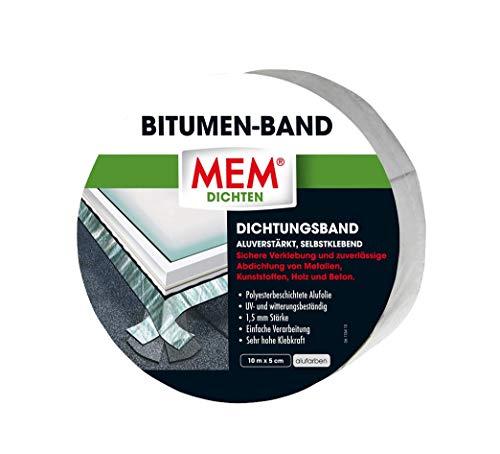 MEM Bitumen-Band alu - 5 cm x 10 m - selbstklebendes Dichtungsband - UV-beständigen Schutzfolie - Abdichten und Verkleben von verschiedenen Materialien - Fugen, Regenrinnen, Dachabdeckungen