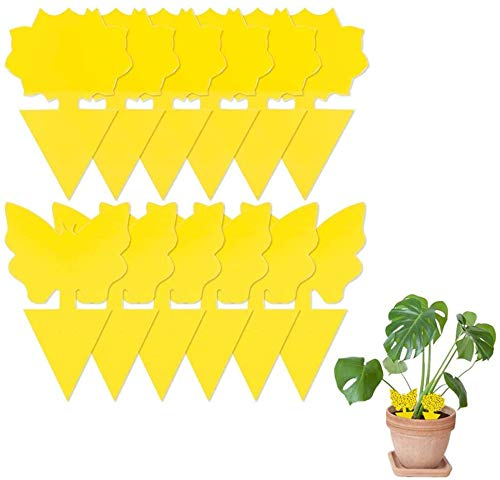 Yellow Sticky Trap, 48 PCS Disposable Glue Trappers Natural Fruit Fly Trap Yellow Sticky Bug Traps for Indoor/Outdoor Use, Insect Catcher for White Flies, Mosquitoes, Gnats, Flying Insects