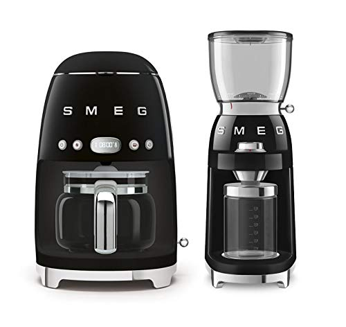 Smeg DCF02BLUS 50's Retro Style Drip Filter Coffee Maker Bundle with Smeg CGF01BLUS Coffee Grinder - Black