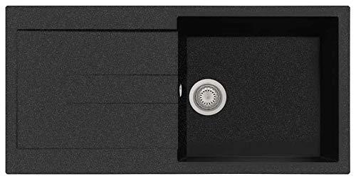 Fregadero compuesto Plados AM9910 de una cubeta más escurridor (negro metal)