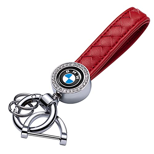 WENCHAO 1pcs Genuine Leather Car Logo Keychain Suit for BMW 1 3 5 6 Series X5 X6 Z4 X1 X3 X7 7 M Series Key Chain Keyring Family Present for Man and Woman(red)