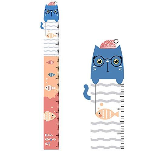 HuaHong Messlatte Kinderzimmer, Kinder Wachstum Messlatte, Wandtattoo Herrscher Höhe Diagramm Messleiste für Kind Mädchen Junge (Color : Cat Fishing)