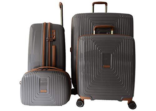 LYS 4-teiliges Koffer-Set, Hartschale, Polypropylen, Kosmetikkoffer + Koffer + mittelgroßer Koffer + großer Koffer 35 cm – 38 – 45 – 52 cm