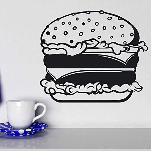 Fastfood Hamburger Broodje Kaas Salade Muursticker Vinyl Interieur Keuken Sticker Verwijderbare Muurschildering Behang 49X42Cm