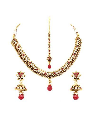 INAYA Latón Cristal y oro amarillo plateado conjuntos de collar Con rojo Chaton Piedra, 1 par
