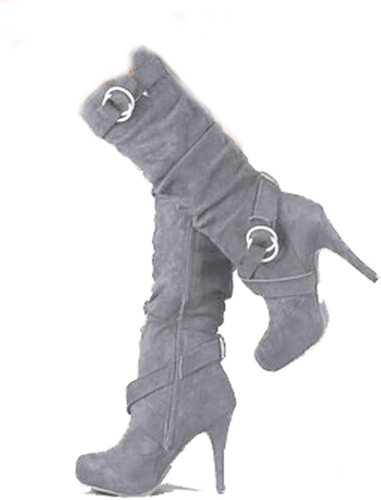 JOYBI Womens High Heel Knee High Boots Platform Round Toe Vegan Faux Suede Ladies Fashion Motorcycle Boots