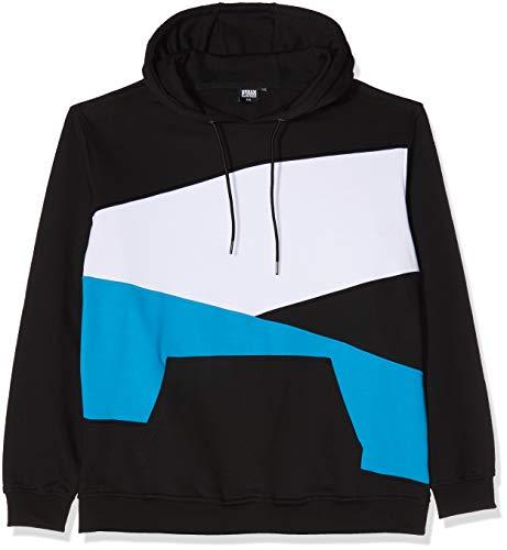 Urban Classics Herren Kapuzenpullover Zig Zag Hoodie, Farbe Black/Turquoise/White, Größe 5XL