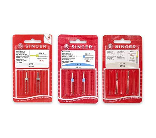 Pack de Agujas Dobles para Máquinas de Coser Singer 2024, 2025 y 2028 Grosor 90/14 Separación 2mm, 3mm y 4mm