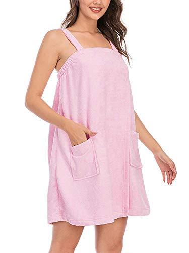 LAYAN-B Albornoz para mujer, toalla de baño, toalla de ducha, spa, gimnasio, pareo suave, bata de playa, falda de baño L azul (rosa, XXL)