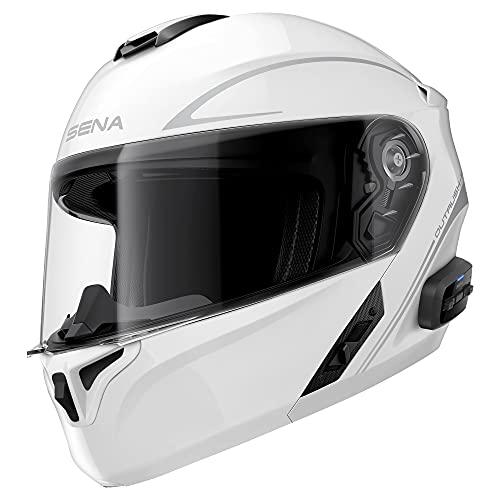 Sena Outrush R Bluetooth Modular Motorcycle Helmet with Intercom System (Gloss White, Large)