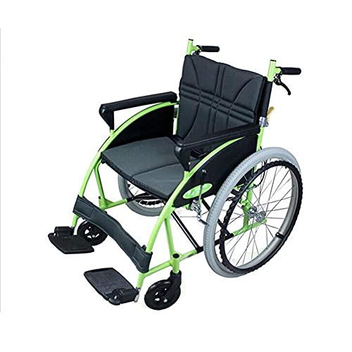 YIQIFEI Silla de Ruedas Plegable, ortopédica, para discapacitados, Freno Manual, apoyabrazos fijos y Silla de Ruedas propulsada por Asistente de Aluminio (Silla)
