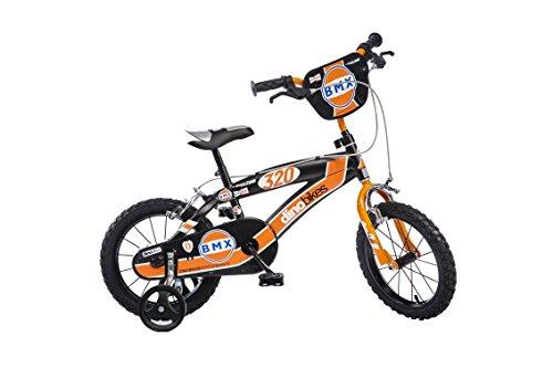 Kinderfiets Jongens BMX 14 Inch met Twee Handremmen en Zijwielen Zwart Oranje