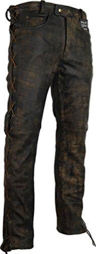 MDM Lederhose an den Seiten geschnürt in braun Bikerjeans Lederjeans Rockerhose Western Lederhose (33)