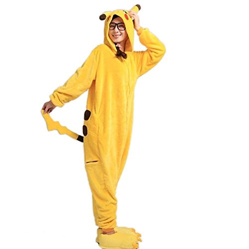Wanziee Unisex Costume Anime Pokemon Go Pikachu Animal Cosplay Hoodie Onesie Adult Pajamas Anime Dress Up Cartoon Party Halloween Sleepwear S M L XL (Small: fit for Height 148-158CM (59'-63')) Yellow
