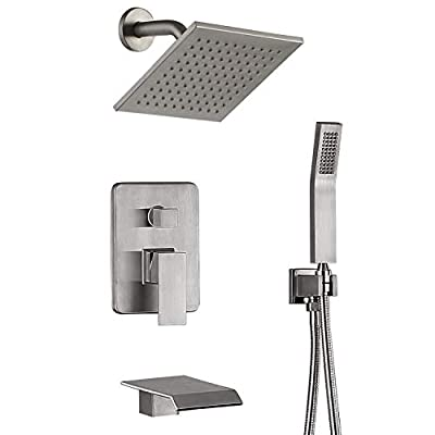Tub Shower Faucet Set Brushed Nickel Shower System Rain Showerhead Handheld Shower Waterfall Bathtub Spout Included 3 Function BRASS Shower Fixtures with Valve (Nickel Brushed)