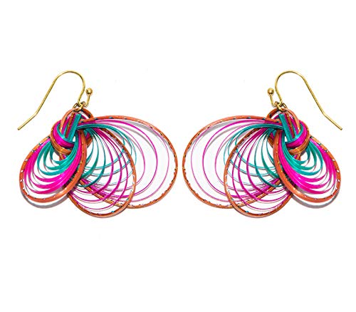 CCcollections Handgemachte Bambus Ohrringe Messing Mode 10 Design bunt jedes Design in 3 Farben